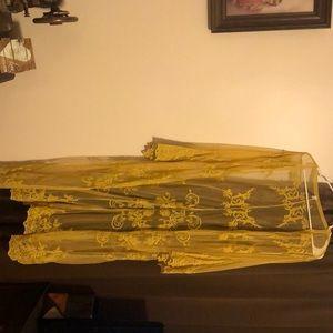 Mustard yellow long lace kimono